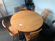 Circular Timber Table with Hinged Ends and 4no. Farmhouse Style Chairs as Lotted. Collection