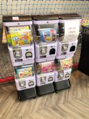Six Section Coin Operated Childrens Vending Machine, No Keys Present and Some Damage to Coin Draws