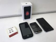 3no. LOCKED 2no. Apple iPhone 6s & Blackberry Bold. Note: These phones are locked and are being sold