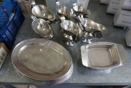 12no. Stainless Steel Gravy Boats and Quantity of Stainless Steel Serving Trays, Lot is Located Main