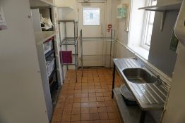 Contents of Side Room Comprising; Sink Unit, 2no. Various Wire Racks, Plastic Racking with Contents,