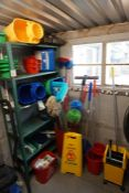 Quantity of Various Cleaning Sundries as Illustrated inc. Shelving, Lot is Located Main Building,