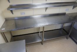Francis 2-Tier Full Stainless Steel Prep Table with Splashback 2300 x 950 x 600mm, Lot is Located