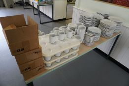 Quantity of Crockery, Soup Bowls and Mugs as Illustrated, Lot is Located Main Building, Room:
