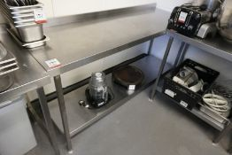 Francis 2-Tier Full Stainless Steel Prep Table with Splashback 1800 x 960 x 600mm, Lot is Located
