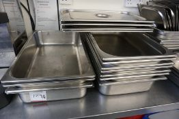 9no. Gastrotrays with 4no. Lids, Lot is Located in Main Building, Room: Kitchen