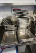 26no. Stainless Steel Gastronorm Pans with 16no. Lids, Lot is Located Main Building, Room: Kitchen
