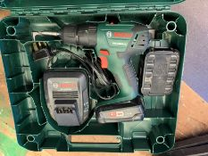 Bosch PSB 1800 LI-2 Cordless Combi Drill with 2no. Batteries & Charger, Lot Located In; Tool Shed