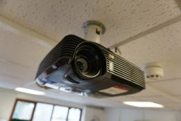 View Sonic PJD5133 Suspended Projector Complete with Retractable Projector Screen, Lot Located in