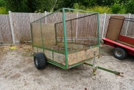 SCH Supplies Cage Trailer with Timber Loading Ramp and Bed, Bed Size: 2400 x 1200 x 1200mm