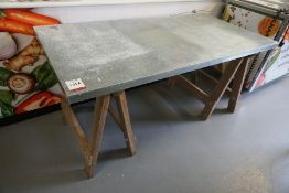 Timber Frame Trestle Style Table with Galvanised Steel Sheet Top 1600 x 800mm, Lot Located in Main
