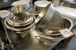 Quantity of Various Stainless Steel Mixing Bowls, Cylinders and Sieves as Illustrated, Lot is