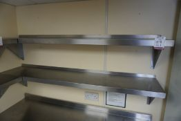 2no. Wall Hung Stainless Steel Shelves 1500mm Long, Lot is Located Main Building, Room: Off Kitchen