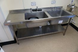 Franke Twin Basin Full Stainless Steel Sink Unit with Splashback 1800 x 920 x 650mm, Lot is