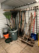 Quantity of Various Groundcare Hand Tools, Lot Located In; Tool Shed