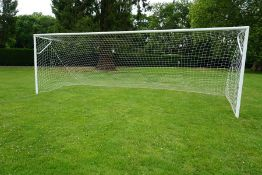 Set of 2no. Full Size Aluminium Football Goal Posts Complete with Nets, Lot disassembled as