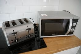 Morphy Richards Domestic Microwave and 4-Slot Stainless Steel Toaster, Lot Located in Block: 1 Room: