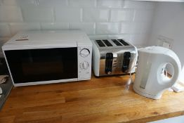 Domestic Microwave, Toaster and Kettle as Lotted, Lot Located in Block: 1 Room: 17 (Ground Floor)
