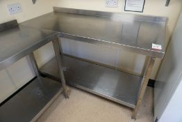 Francis 2-Tier Full Stainless Steel Prep Table with Splashback 1500 x 950 x 600mm, Lot is Located