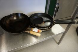Various Frying Pans and Woks as Illustrated, Lot is Located Main Building, Room: Kitchen