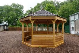 Octagonal Timber Gazebo with Bench Seats and Timber Slatted Roof Approx 4000mm dia, Majority of