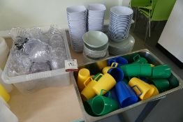 Quantity of Various Plastic Bowls, Plates and Cups as Lotted, Lot is Located Main Building, Room: