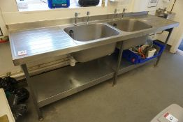 Twin Basin Full Stainless Steel Sink Unit with Splashback 2400 x 960 x 650mm Complete with