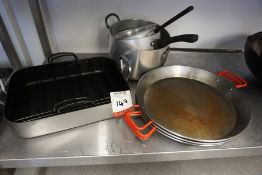 Quantity of Various Pots and Pans as Illustrated, Lot is Located Main Building, Room: Kitchen