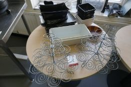 Quantity of Various Plastic Serving Dishes, Timber Bowl and 2no. Cake Stands as Lotted, Lot is