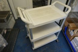 3-Tier Plastic Kitchen Trolley, Lot is Located Main Building, Room: Kitchen Stores Outbuilding