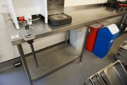 Francis Full Stainless Steel Prep Table with Splashback 2200 x 960 x 650mm, Lot is Located Main