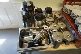 Quantity of Various Tea Urns, Tea Pots and Milk Jugs, Lot is Located Main Building, Room: Canteen