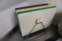 8no. Colour Coordinated Chopping Boards complete with Rack, Lot is Located Main Building, Room: