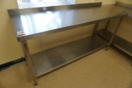 Francis 2-Tier Full Stainless Steel Prep Table with Splashback 1800 x 950 x 600mm, Lot is Located