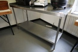 Francis 2-Tier Stainless Steel Prep Table 1600 x 960 x 650 mm, Lot is Located Main Building, Room: