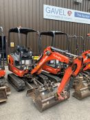 2016 Kubota KX016-4 HG Mini Excavator, serial number 59717, 1,283 hours, rubber tracks, piped,