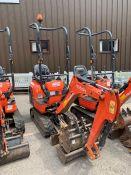 2016 Kubota K008-3 Mirco Excavator, serial number 27130, 1,241 hours, rubber tracks, piped, blade,