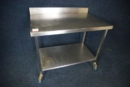 Mobile 2-Tier Stainless Steel Prep Unit with Splashback 1100 x 970 x 700mm