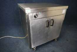 Stainless Steel 2-Tier Mobile Hot Cupboard 800 x 870 x 750mm