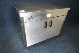 Stainless Steel 2-Tier Hot Cupboard 1000 x 900 x 700mm, Plug Cut Off, Untested