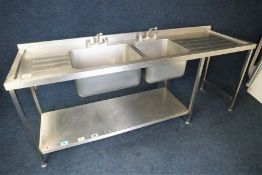 Double Basin Full Stainless Steel Sink Unit with Splashback 2300 x 950 x 700mm