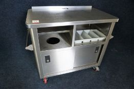 Mobile Stainless Steel Dummy Waiter with Waste Drop 1100 x 950 x 620mm