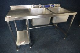 Double Basin Full Stainless Steel Sink Unit with Splashback 1500 x 950 x 700mm