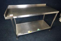 2-Tier Stainless Steel Corner Prep Table with Splashback 1450 x 900 x 700mm