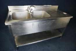 Double Basin Full Stainless Steel Sink Unit with Splashback 1500 x 950 x 650mm