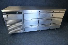 Foster Eco Pro G2 9-Drawer Stainless Steel Commercial Undercounter Refrigerator 1870 x 870 x 700mm