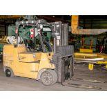 """Cat LP Forklift Mdl F-254628, s/n AU2187, Solid Tires, 10,000 lb. Cap. 48"""" forks, 2 Stage Mast"""