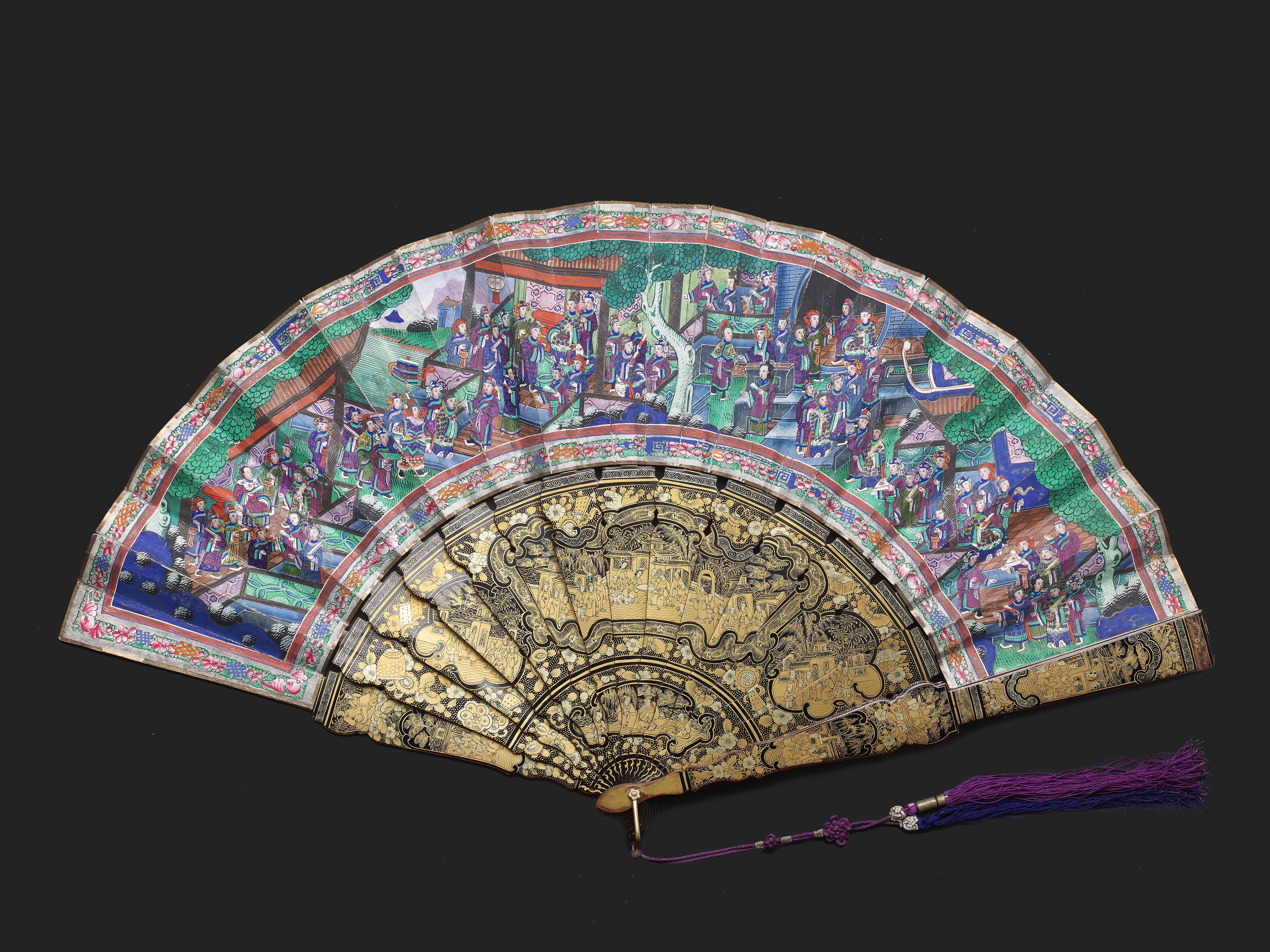 Lot 4 - A CHINESE EXPORT MACAU LANDSCAPE FAN, QING DYNASTY, DAOGUANG PERIOD, CIRCA 1840