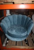 Blue Curved Back Designer Sitting Room Arm Chair RRP £400 (16344) (Public Viewing and Appraisals