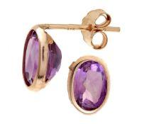 Oval Amethyst Natural Gemstone Stud Earrings, Meta